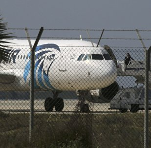 An official boards a hijacked Egyptair A320 Airbus at Larnaca Airport in Larnaca, Cyprus, March 29, 2016