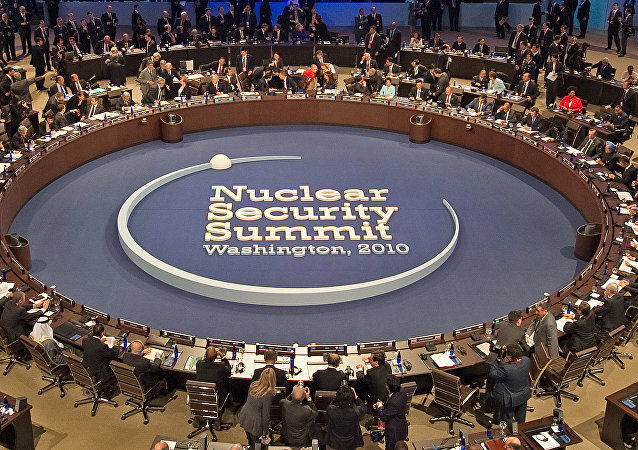 President Barack Obama (top center) hosts 46 visiting leaders at the start of the plenary session of the Nuclear Security Summit April 13, 2010, in Washington, DC