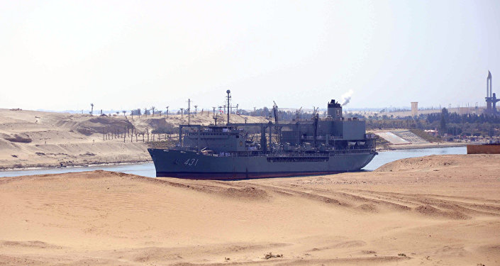 Iranian naval support ship Kharg transits through the Suez Canal on February 22, 2011 bound, along with patrol frigate Alvand, for the Mediterranean Sea on a purported training mission that Israel regards as a provocation