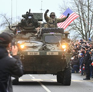 US military convoy, including IAV Strykers, arrives to the Czech army barracks on March 30, 2015 in Prague after entering the Czech Republic at the border crossing in Harrachov on the way from Baltic countries to base in Vilseck, southern Germany