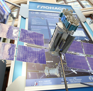 A GLONASS [Global Navigation Satellite System] satellite mock-up on display at the exhibition Space -- Elections -- Telecommunications