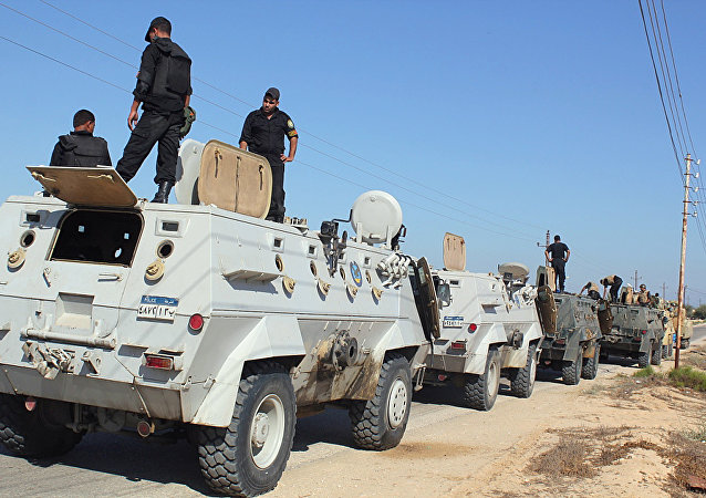Egyptian security forces stand by their Armoured Personell Carriers ahead of a military operation in the northern Sinai peninsula (File)