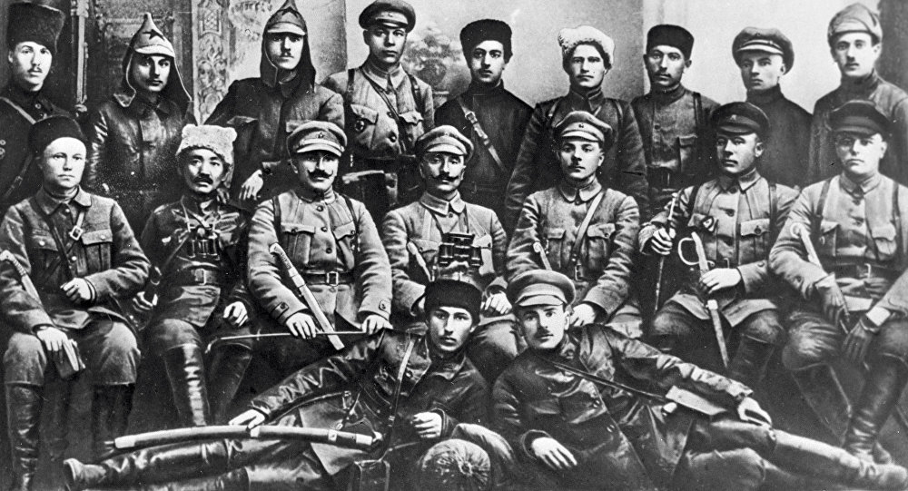 Military and political officers at Revolutionary Military Council of the First Cavalry Army