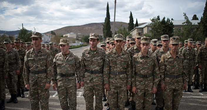 Soldiers of the army of self-proclaimed Nagorno-Karabakh Republic
