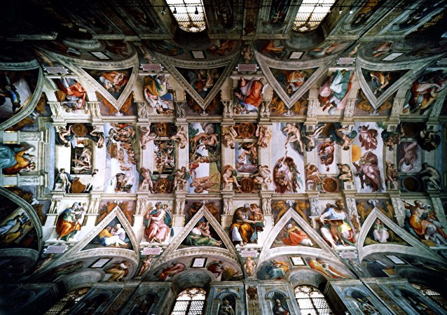 An undated picture showing the ceiling of the Sistine Chapel in the Vatican City