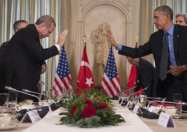US President Barack Obama (R) greets Turkish President Recep Tayyip Erdogan prior to a meeting at the US Chief of Mission's residence in Paris on December 1, 2015.