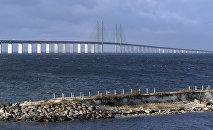 The Oresund bridge pictured from Lernacken on the Swedish side of the Oresund strait November 12, 2015.