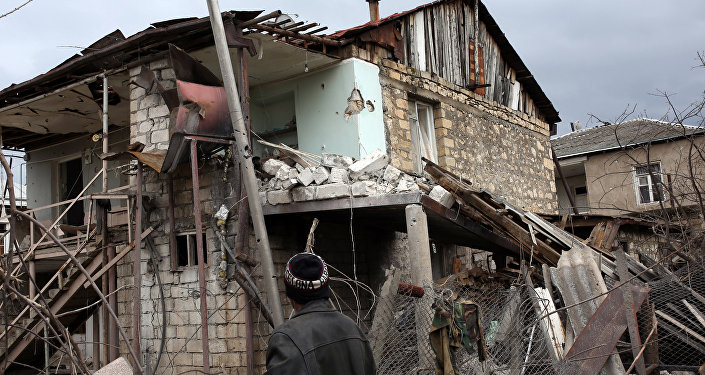 A damaged home in a village in the Martakert District of the Nagorno-Karabakh Republic.