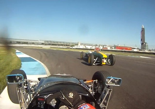 Vintage Formula Ford at Indianapolis Motor Speedway. Helmet Camera