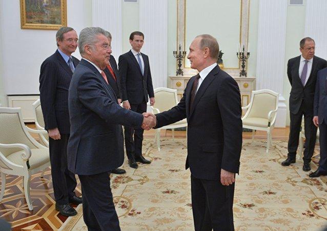 President Vladimir Putin meets with President of Austria Heinz Fischer