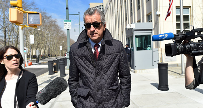 Miguel Trujillo, a Colombian former FIFA match agent, leaves the Federal Court in Brooklyn, New York, on March 8, 2016, after being released on bail