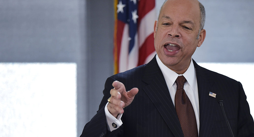 US Homeland Security Secretary Jeh Johnson speaks during the Countering Violent Extremism Symposium on April 6, 2016 at the Ronald Reagan Building and International Trade Center in Washington, DC