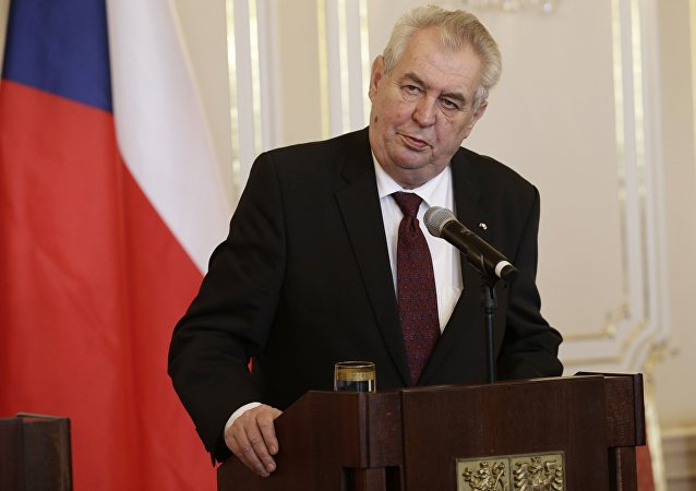 Czech Republic's President Milos Zeman addresses media during a press conference at the Prague Castle in Prague, Czech Republic, Tuesday, March 15, 2016
