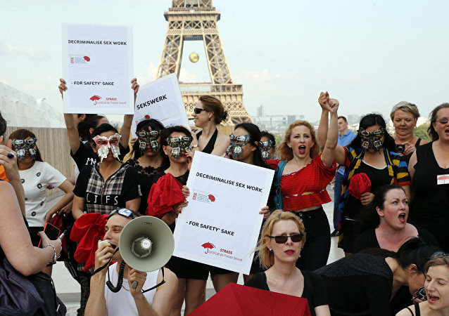 French sex workers take part in a demonstration to denounce a bill on prostitution.file photo