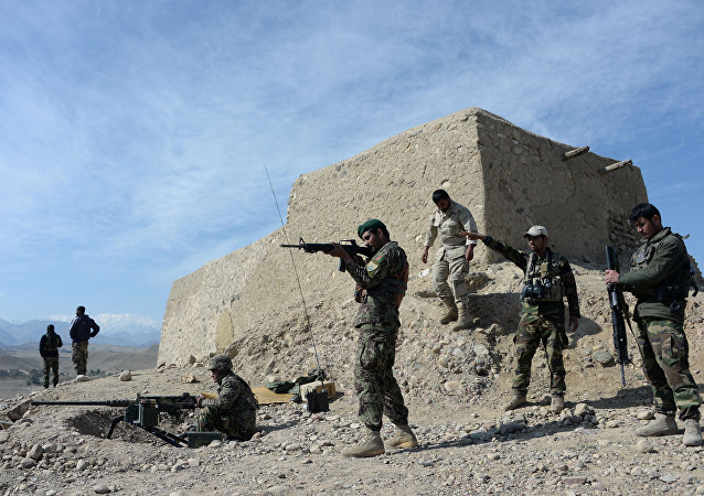 Afghan security forces patrol following an operation against Islamic State (IS) militants in Achin district in Nangarhar province (File)