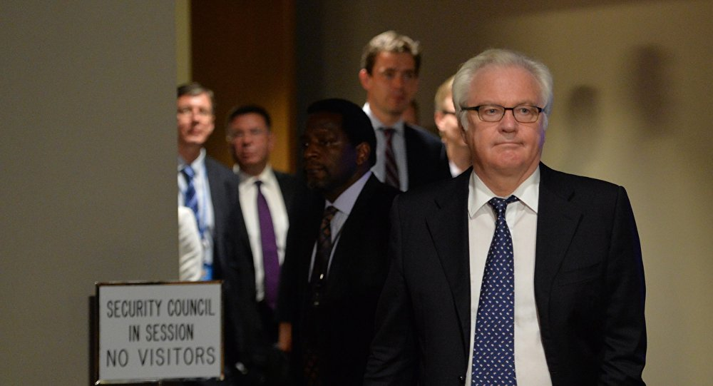 Vitaly Churkin, Russia's Ambassador to the United Nations, leaves the Security Council chambers July 21, 2014 at UN headquarters in New York