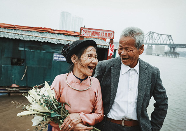 Elderly couple's wedding
