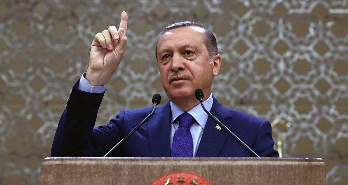 Turkish President Recep Tayyip Erdogan addresses a meeting of local administrators in Ankara, Turkey, Wednesday, April 6, 2016