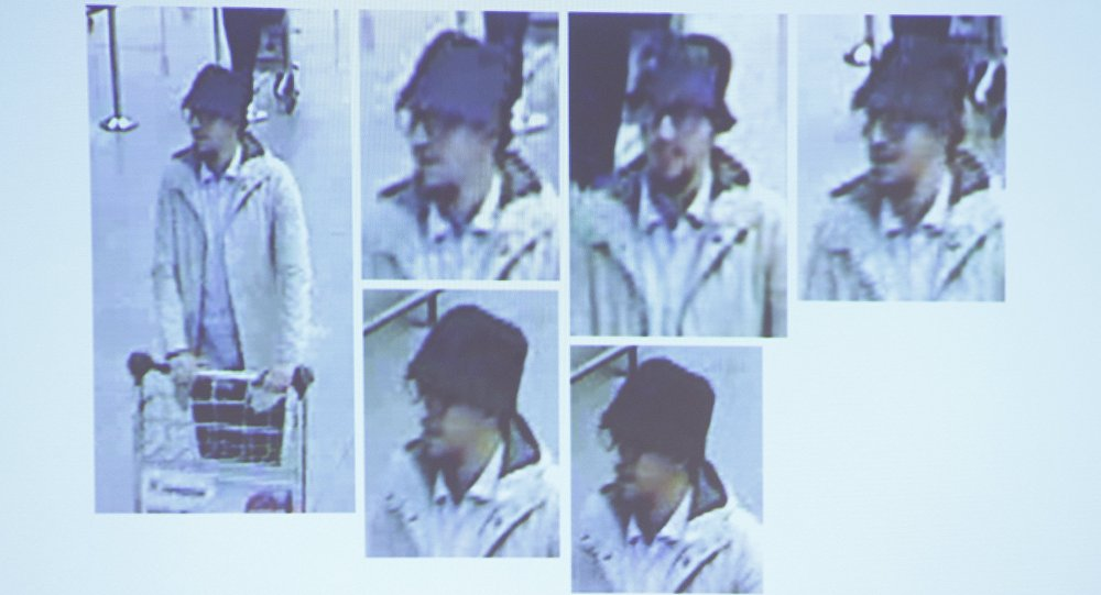 man whom officials believe may be a suspect in the attack which took place at the Brussels international airport of Zaventem, is seen in this CCTV image made available by Belgian Police on April 7, 2016