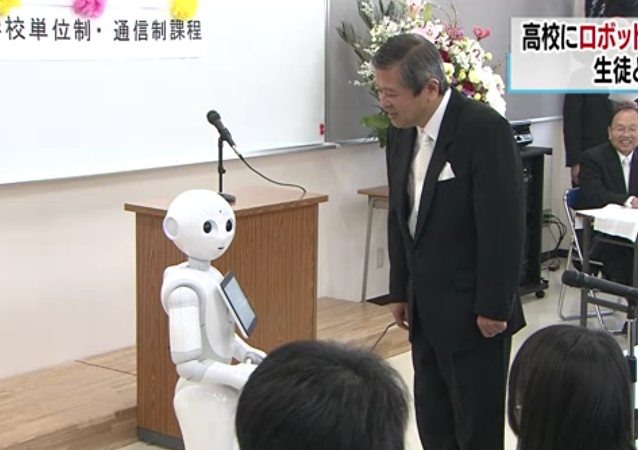 The school principal welcomes Pepper