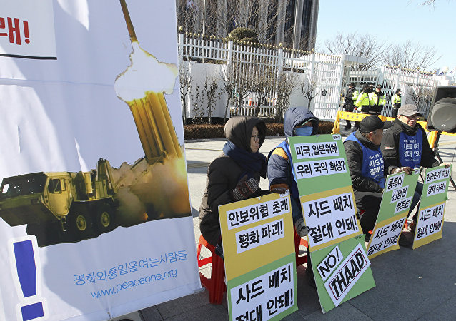 South Korean protesters stage a rally to oppose the possible deployment of the United States' advanced defense system THAAD, a Terminal High-Altitude Area Defense, on Korea Peninsula, in front of the government complex in Seoul, South Korea (File)