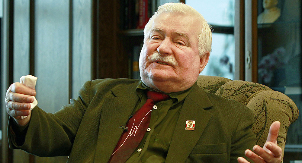 "Poland's former president and legendary Solidarity freedom movement founder Lech Walesa acts with expression as he repeats his denials to allegations he collaborated with the communist regime and talks about the ""crisis of democracy"" during an exclusive interview with The Associated Press at his new office at the European Solidarity Center in Gdansk, Poland, Wednesday, April 6, 2016"