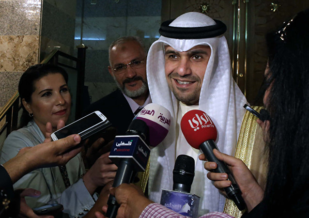 Kuwaiti finance minister Anas al-Saleh speaks to the press (File)