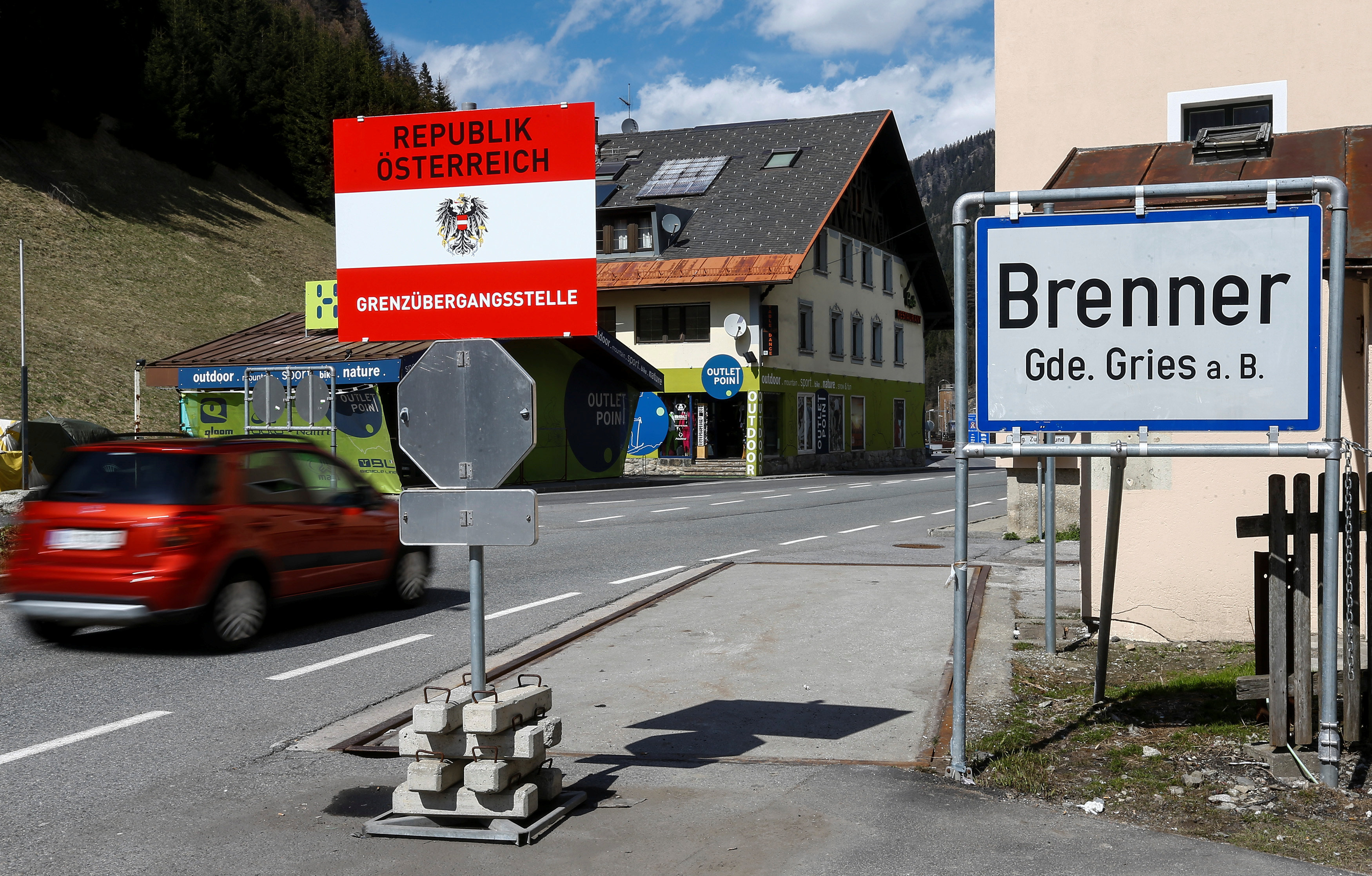 A sign reading Brenner - Brennero is pictured at Brenner on the Italian-Austrian border, Austria, April 12, 2016