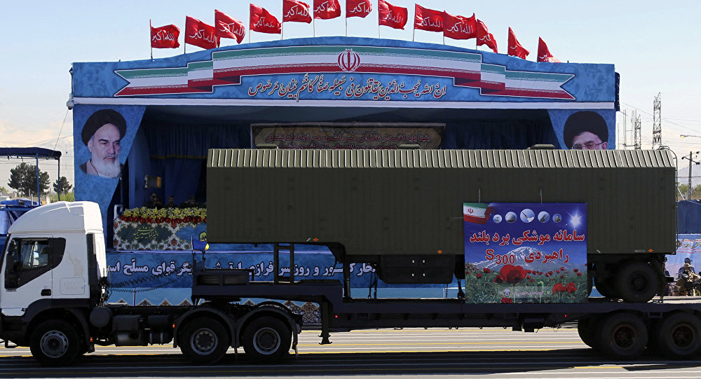 An Iranian military truck carries alleged parts of the S-300 missile system