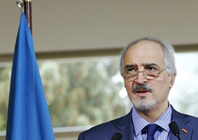 Syrian government's head of delegation Bashar al-Jaafari attends a news conference after a meeting on Syria at the European headquarters of the United Nations in Geneva, Switzerland, April 18, 2016.