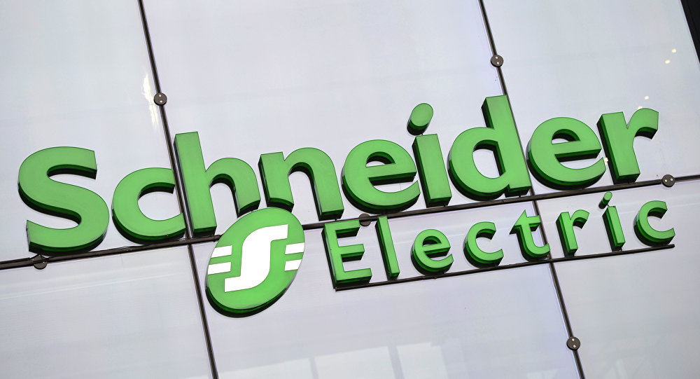 The logo of electricity distribution and energy management group Schneider Electric at the company's headquarters in Rueil-Malmaison, outside Paris