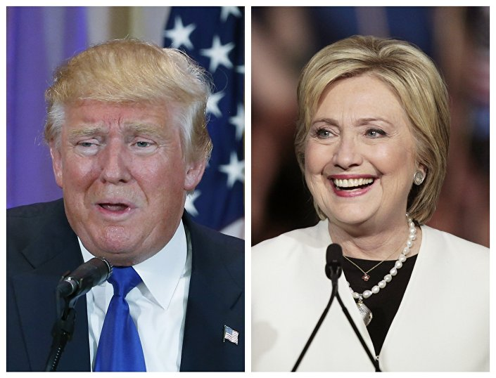 A combination photo shows Republican US presidential candidate Donald Trump (L) and Democratic US presidential candidate Hillary Clinton (R)