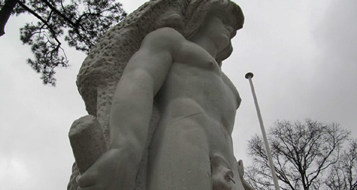 Three-metre statue of Hercules, Greek mythology's divine hero, in the Parc Mauresque in Arcachon