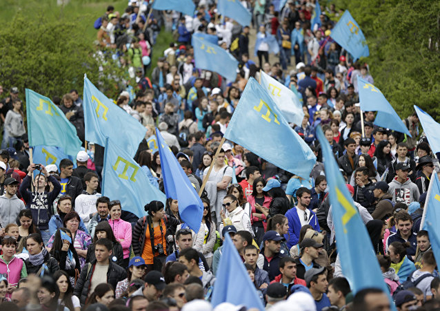 Traditional climb to the peak of the Chatyr-Dag mountain as part of the events commemorating the 71st annivsesary of the Crimean Tatars' deportation. (File)