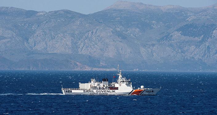 (File) A Turkish coast guard ship patrols in the Aegean Sea, off the Turkish coast, April 20, 2016.