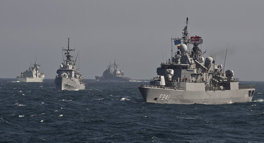 War ships of the NATO Standing Maritime Group-2 take part in a military drill on the Black Sea, 60km from Constanta city March 16, 2015