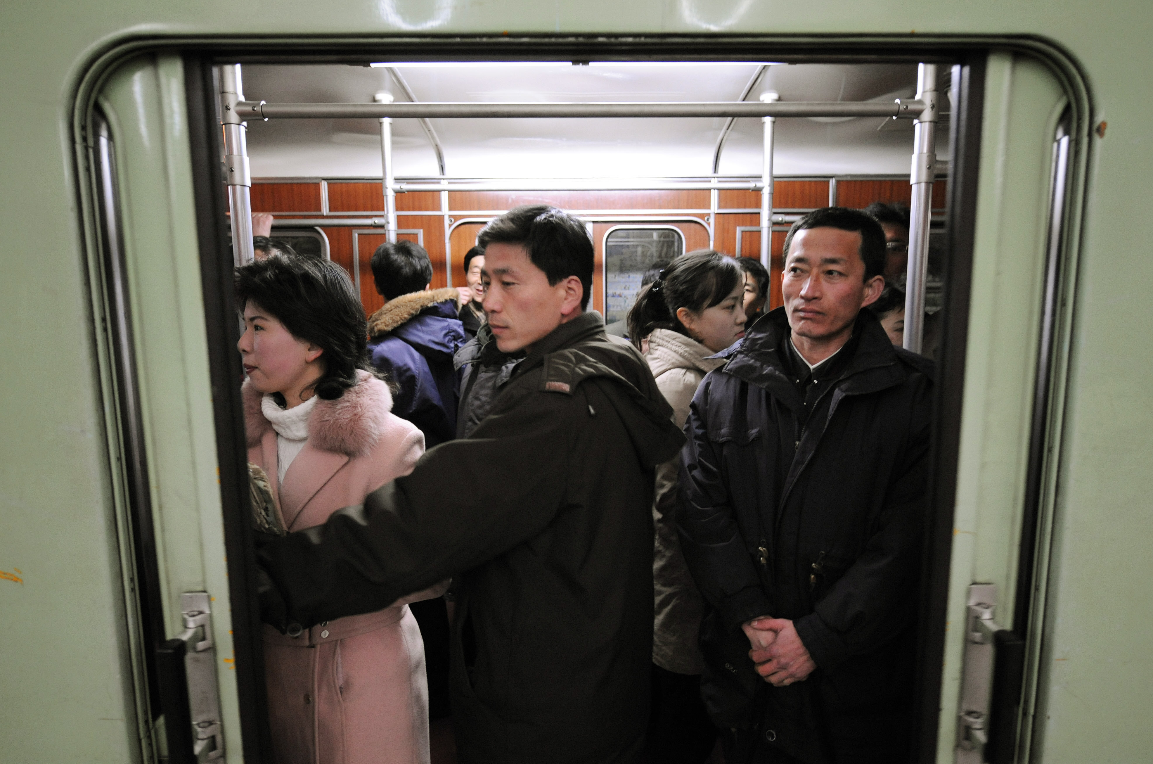 North Korean commuters wait to depart a station on the city metro line in the North Korea capital, Pyongyang (File)