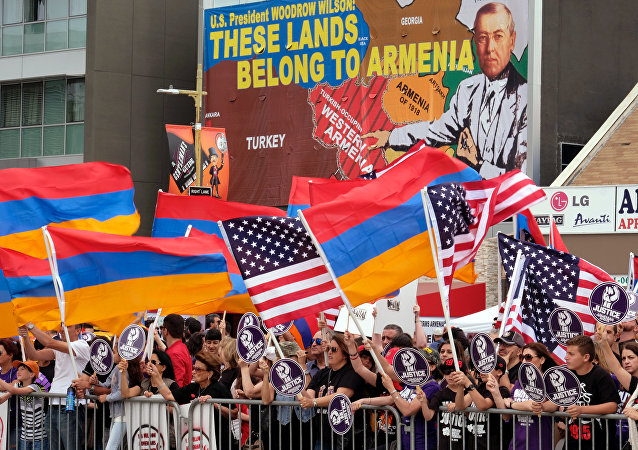 Demonstrators rally outside the Turkish Consulate to commemorate the killings of an estimated 1.5 million Armenians under the Ottoman Empire more than a century ago, in Los Angeles on Sunday, April 24, 2016.