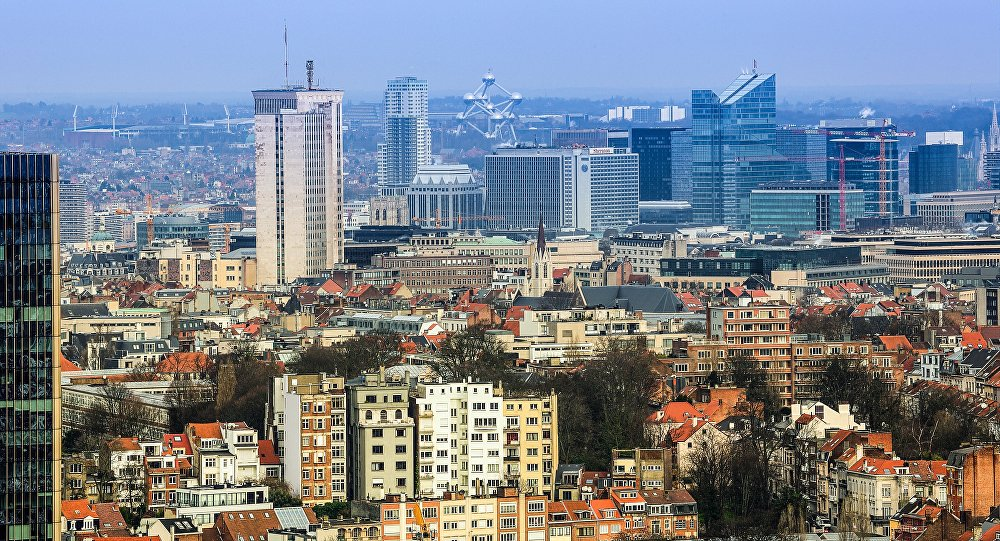 View of the Brussels business district and 1958 Atomium landmark.