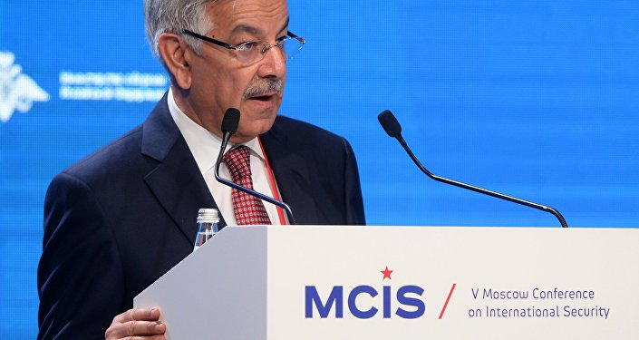 Khawaja Muhammad Asif, Pakistan's Defense Minister, speaks at the Fifth Moscow Conference on International Security.