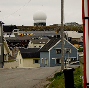The Globus II Radar station (centre) is seen in Vardoe, northern Norway