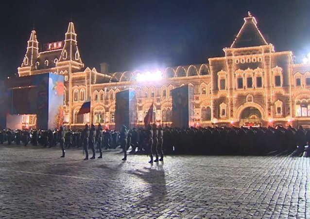 Night Rehearsal of V-Day Parade in Moscow
