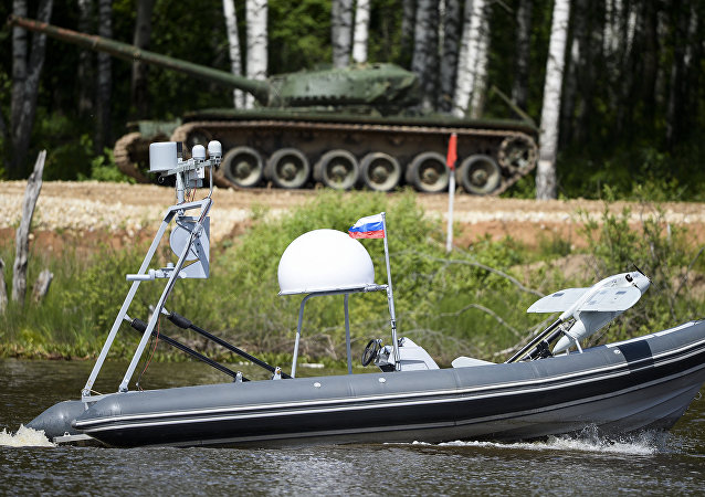 A demonstration flight of a fixed-wing unmanned aerial vehicle (launched from a BK-10 Typhoon motor boat) at the Army 2015 International Military-Technical Forum in Kubinka