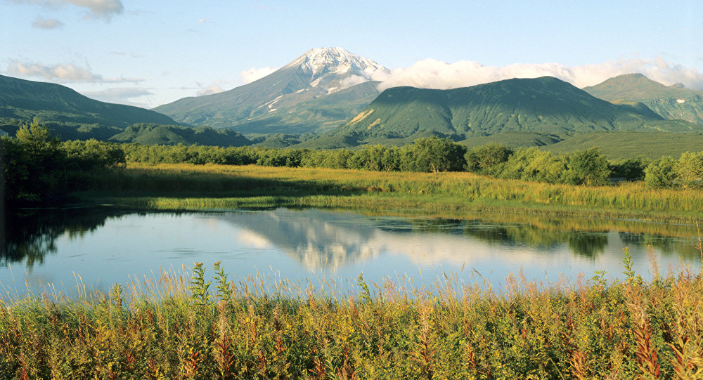 View of Kambalny Volcano (Kambalny Mount) on Kamchatka Peninsula