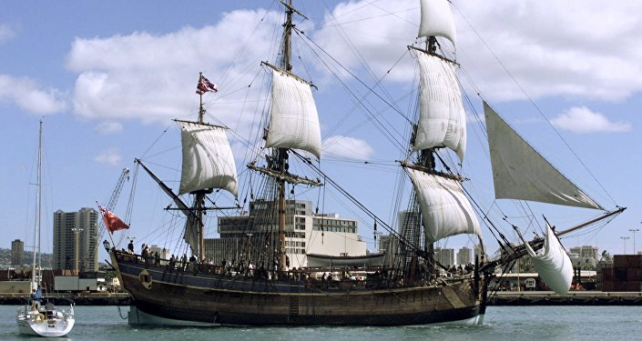 A replica of Captain James Cook's Endeavour leaves Honolulu Harbor. file photo