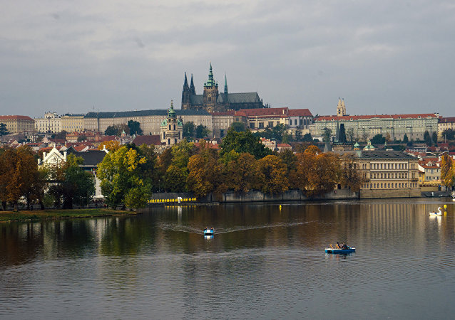 A view of the old city from the Kampa Island in Prague.