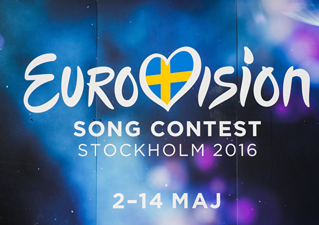 The Eurovision Song Contest logo is pictured in central Stockholm, Sweden on May 5, 2016