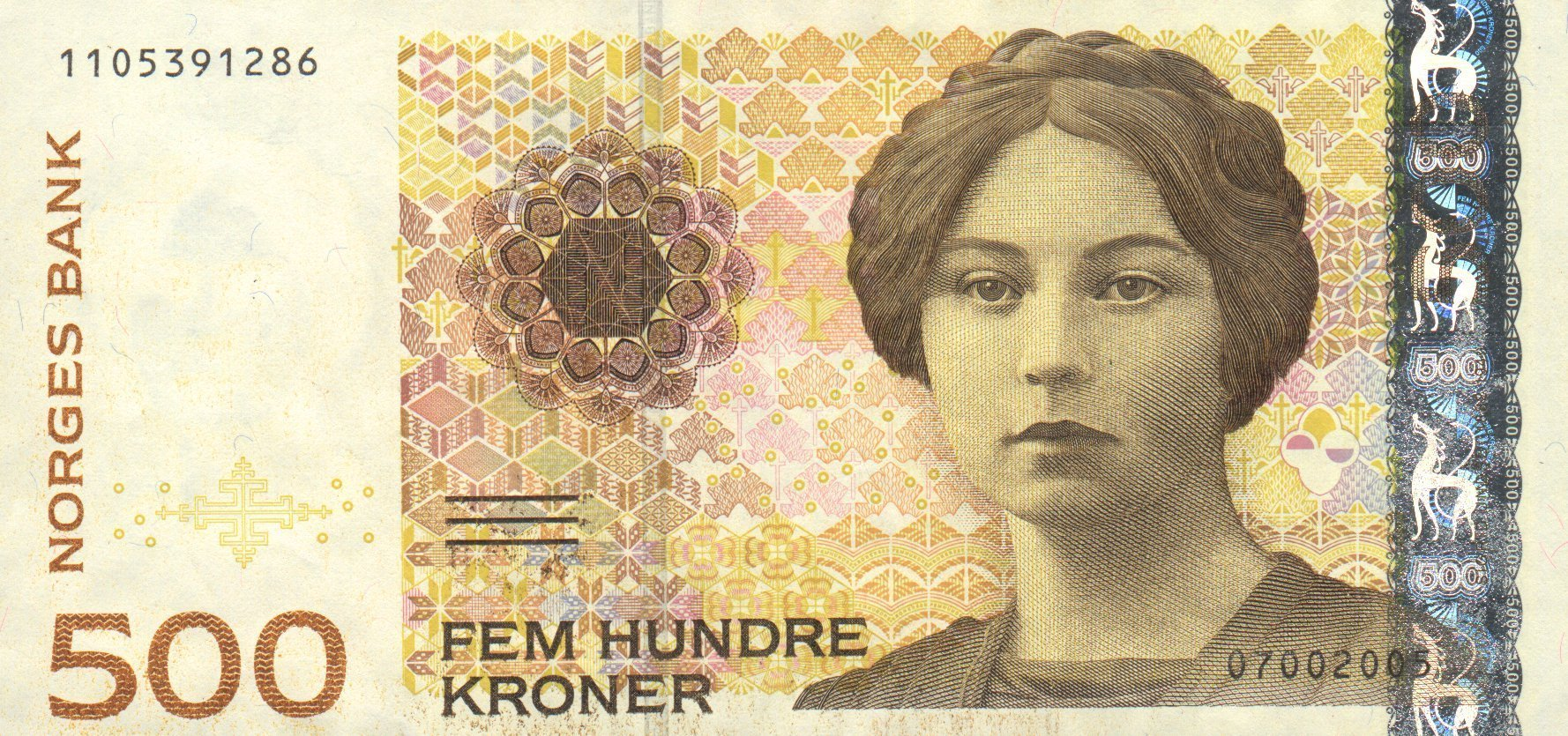 The 500 kroner note (1999) portrayed Sigrid Undset (1882–1949), author and winner of the Nobel Prize in literature in 1927.