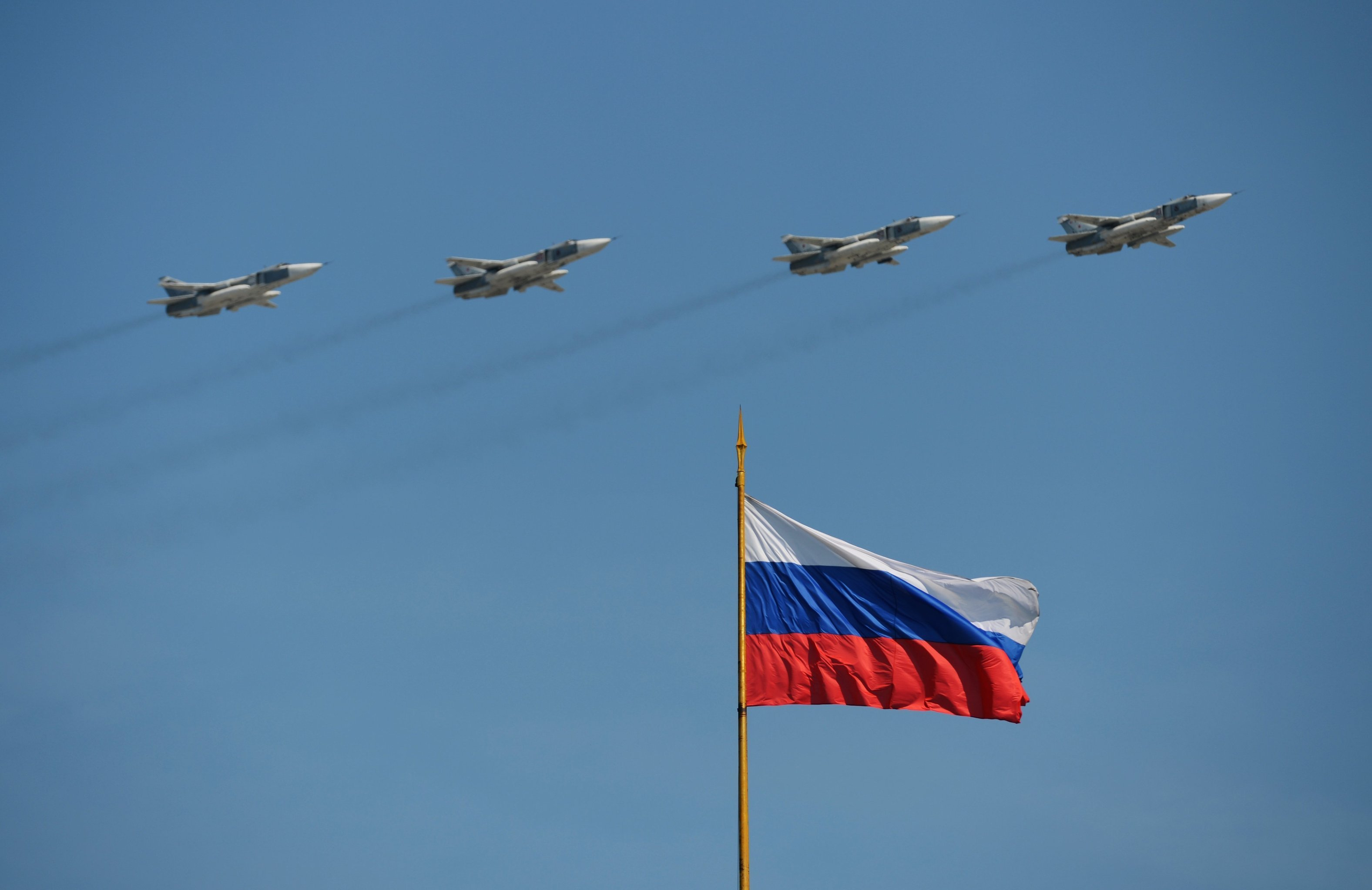 The Su-24 bombers seen flying during the May 9 Victory Day Parade in Moscow