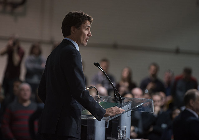 Canadian Prime Minister Justin Trudeau delivers a speech at the Youville workshop of the Société des Transports de Montréal (STM), in Montreal, Quebec, on April 6, 2016